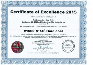 Round Robin Hardcoal certificate 2015 RC-Inspection