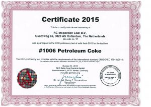Round Robin Petroleum cokes certificate RC Inspection