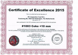 Round Robin cokes certificate 2015 RC Inspection