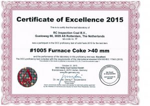 Round Robin furnace cokes certificate RC Inspection
