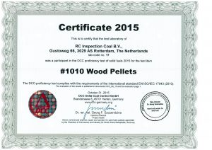 Round Robin wood pellets certificate 2015 RC Inspection
