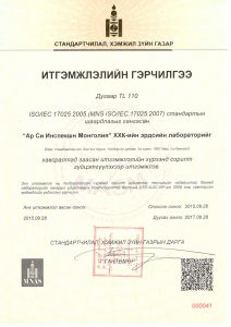 ISO 17025 accreditation certificate of MASM